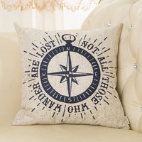 "Fjfz Not All Those Who Wander Are Lost Inspirational Travel Quote Decoration with Nautical Compass Rose Vintage Décor Cotton Linen Home Decorative Throw Pillow Case Cushion Cover Sofa Couch, 18"" x 18"""