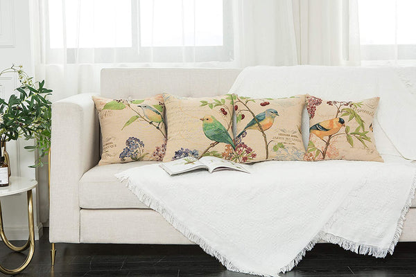 YUKORE SimpleDecor Jacquard Bird On The Tree Accent Decorative Throw Pillow Case Hand Painted Cushion Cover Cute Bird Pillow Shells 18x18 Inches Cream