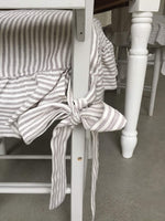 Dining Chair Seat Cover, Linen, Ruffled on 4 sides, Regular Size (no pad included - just a slip cover) Ticking Stripe