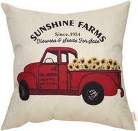 Fahrendom Sunshine Farms Sunflower Vintage Red Truck Rustic Farmhouse Decor Spring Summer Sign Decoration Cotton Linen Home Decorative Throw Pillow Case Cushion Cover for Sofa Couch, 18 x 18 in