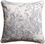 Maison d' Hermine Miller 100% Cotton Toile Decorative Pillow Cover for Couch Sofa Cushion Covers Bedroom (Paloma Gray, 18 Inch by 18 Inch)