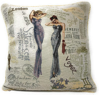 Tache 2 Piece 18 X 18 Inch Square Vintage European French Girls Just Want to Have Fun Cushion Pillow Throw Cover Set
