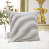 Home Brilliant Striped Corduroy Euro Sham Spring Large Throw Pillow Cover Decorative Cushion Cover for Bed, 24 x 24 inch (60cm), Light Grey