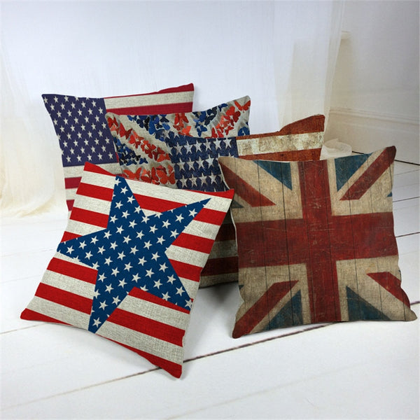 45 *45cm Blend Linen Throw Pillow Covers cushion Case Bedroom homeDecorative Vintage UK USA Flag union jack Cheap Cushion Cover