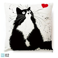 New Hot Vintage White and Black Cat Dog Cotton Cute Pillow Sofa Waist Throw Cushion Cover Home Car Decor