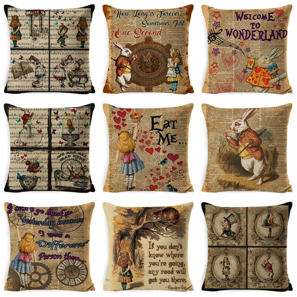 2019 Vintage Cushion Cover Illustration Rabbit Praiser in Newspaper Alice in Wonderland Retro Home Decorative Pillow Cover Cover
