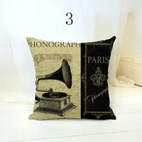 45x45cm Hot Selling New 3D Vintage Musical Instruments Camera Linen Cushion Case Pillow Cover shabby chic vintage decoration