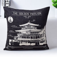 Vintage Camera Newspaper Cushion Cover Pillowcase The Golden Pavilion The Forbidden City Black and Beige Pillow Covers