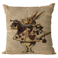 TOX Vintage Cushion Cover Illustration Cushion Rabbit Praiser in Newspaper Alice in Wonderland Retro Home Decorative Pillow Case