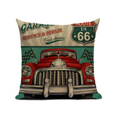 Europe Vintage Retro Cars Cushion Covers Car Travel Trip English Letters Cushion Cover Sofa Decorative Beige Linen Pillow Case