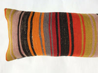 12x42 Long Lumbar Pillow Cover Colorful Turkish Kilim Vintage Wool Cushion 1335