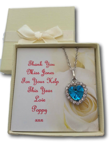 THANK YOU GIFT NECKLACE TEACHER NURSERY ASSISTANT PERSONALISED CARD PRESENT