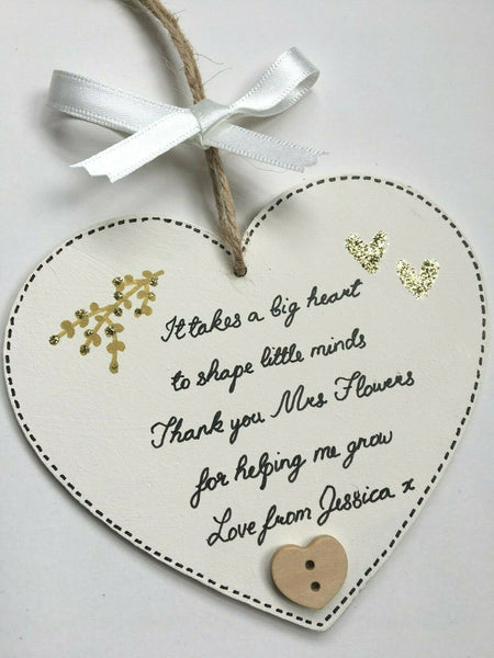 Teacher Gifts Personalised Plaque Pre School Nursery Thank you Leaving Present