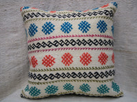 "Kilim Square Pillow Cover, 20""x20"", Decorative Cushion, Handmade Vintage Pillow"