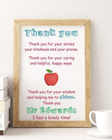 Personalised Teacher Thank you Gift Poster Print PO32