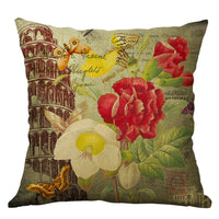 "18"" Vintage Flower Pillow Case Square Cover Sofa Waist Cushion Covers Home Decor"