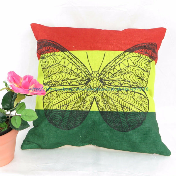 US SELLER - pillow cushion covers Rasta reggae butterfly cover pillowcase