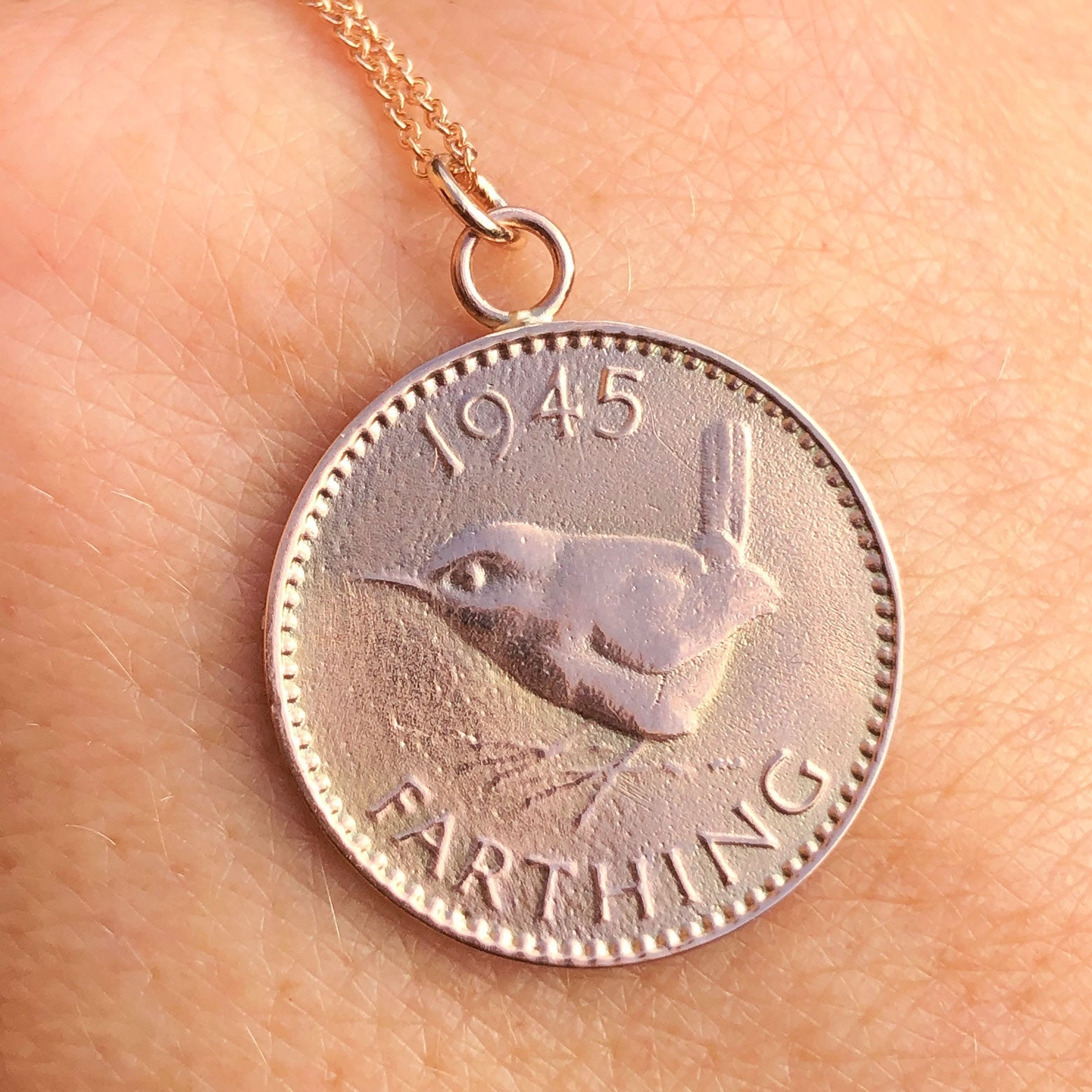 Solid Gold English Farthing Necklace