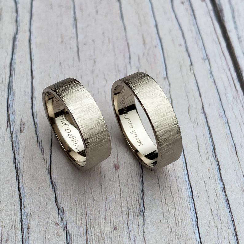 Grey gold silk texture wedding rings