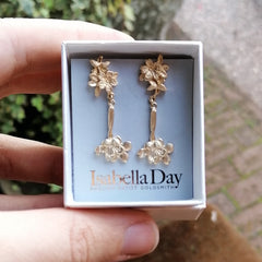 Statement Solid Gold Cherry Blossom Earrings  - Sakura Earrings