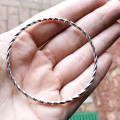 Solid Silver Infinity Twist Bangle