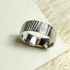Men's Palladium Textured Ring, Guys' Wedding Band, Civil Partnership Ring. Handmade, Artisan, Bespoke.