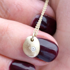 Solid Gold English Pebble Necklace with Ethical Diamond