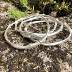 Sterling silver Ash twig world tree bangle, Yggdrasil tree of life bangle