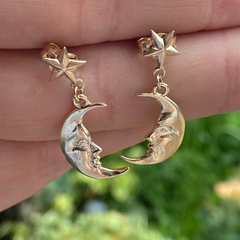 Solid Gold Star Studs with Dangling La Luna Moon