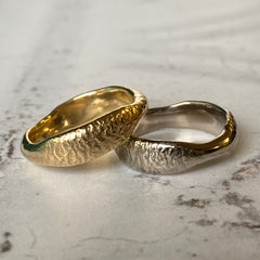 Solid gold nugget treasure ring