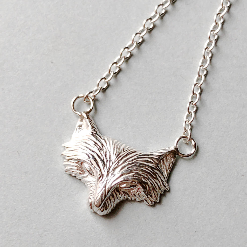 Sterling Silver Fox Face Necklace