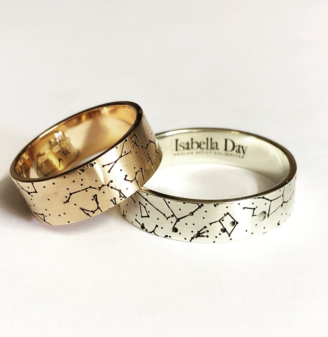 Written in the stars Wedding bands, Star Map Partnership Rings, Constellation wedding bands, Moment in Time