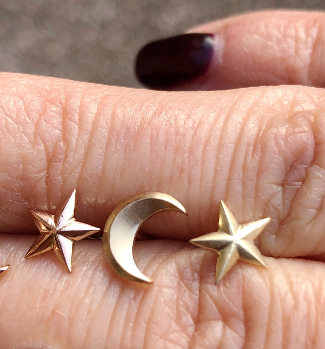 Solid rose and yellow gold hand made moon and
