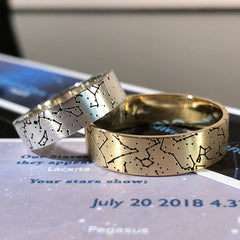 Women's star map ring with diamonds