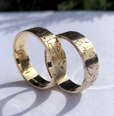 Yellow gold star map rings
