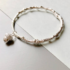 Solid Silver Oak Twig Bangle With Mini Acorn Charm