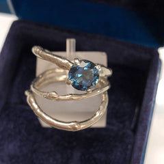 Ethical Australian teal sapphire and palladium twig ring set
