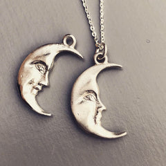 La Luna Moonface sterling silver necklace, black moon, blue moon, silver moon, moon pendant