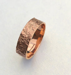 Rose Gold bark ring botanical texture, solid gold.