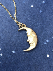 Solid Gold Moon charm with ethical diamond eye, La Luna Moonface solid gold necklace