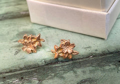 Sakura Cherry blossom solid rose gold studs