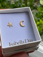 Solid Gold Star & Moon Studs