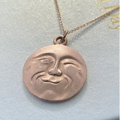 Solid gold man in the moon hand made necklace, La Luna charm