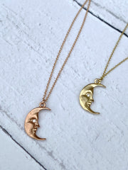 La luna moonface necklace solid gold
