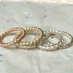 twisted gold stack ring by Isabella day