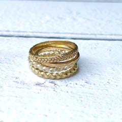 Solid gold ring stack hand made Devon
