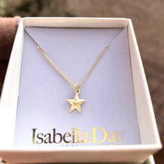 Tiny dainty solid gold star necklace - who is your star?