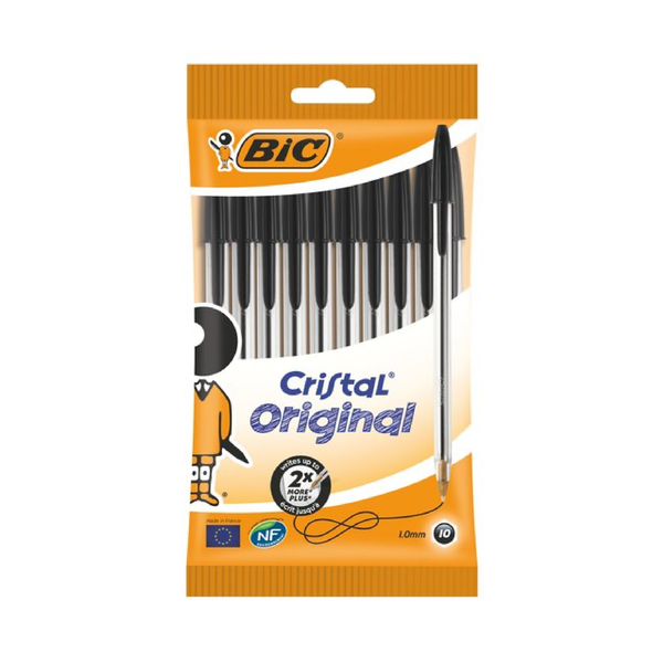 Bic Black Cristal Medium Ballpoint Pen x 10