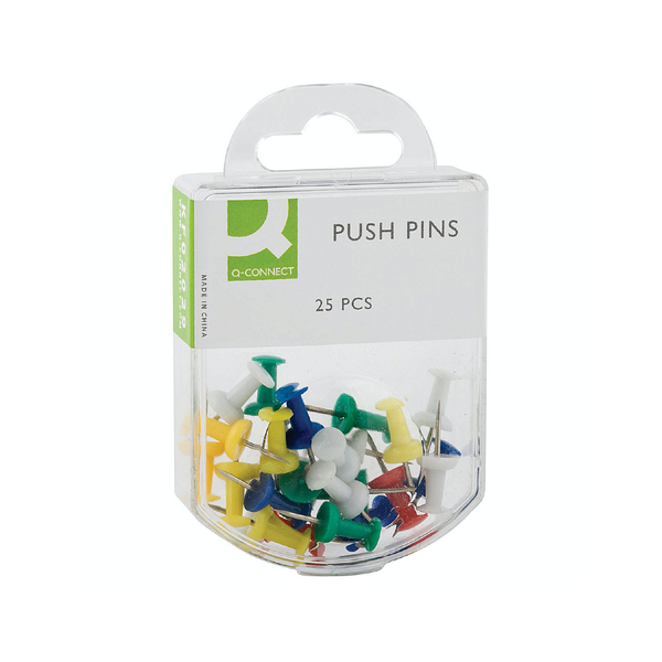 Q-Connect Push Pins Assorted (Pack of 25)