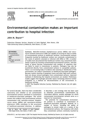 Environmental Contamination and Hospital Infection: